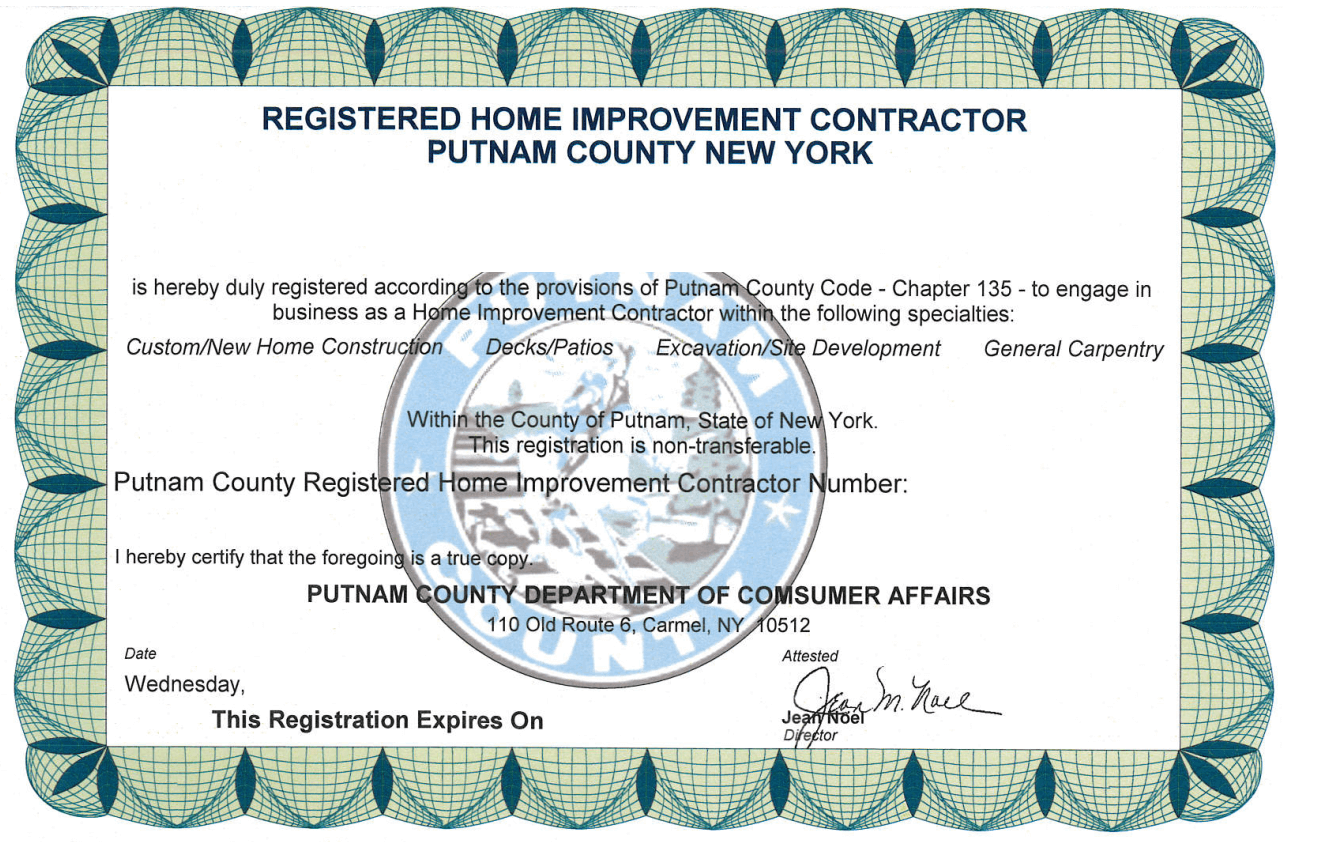 Putnam County Ny Home Improvement Contractor License